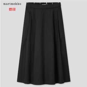 Marimekko Uniqlo black linen cotton midi skirt NWT